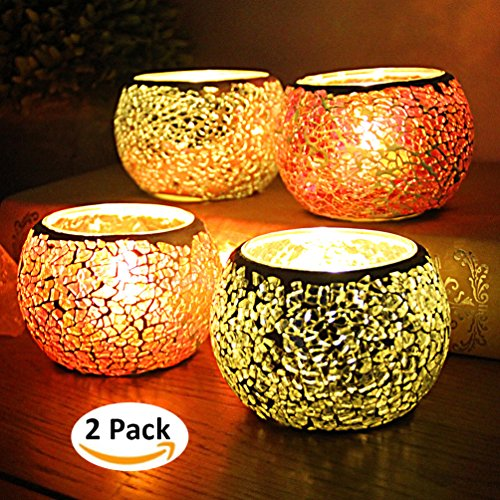 YJY 2-Pack European Style Glass Candle Holder with LED Candle, Handmade Mosaic 3.2