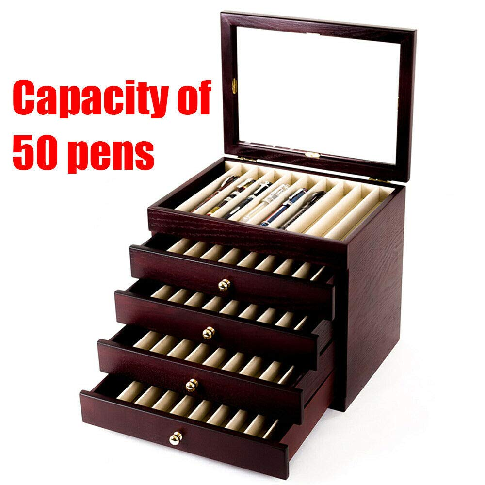 5 Layer Fountain Pen Storage Box Fountain Pen Wooden Display Case Organizer Holder Storage Collector Box 50 Pens (US Stock) by SHZICMY