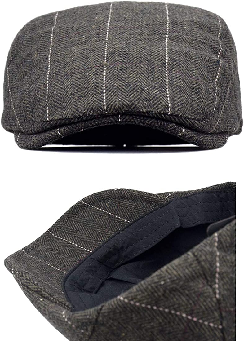 besbomig Piatto Berretto da Uomo Newsboy Flat cap in Tweed Invernale Irish Winter Coppola Cappello