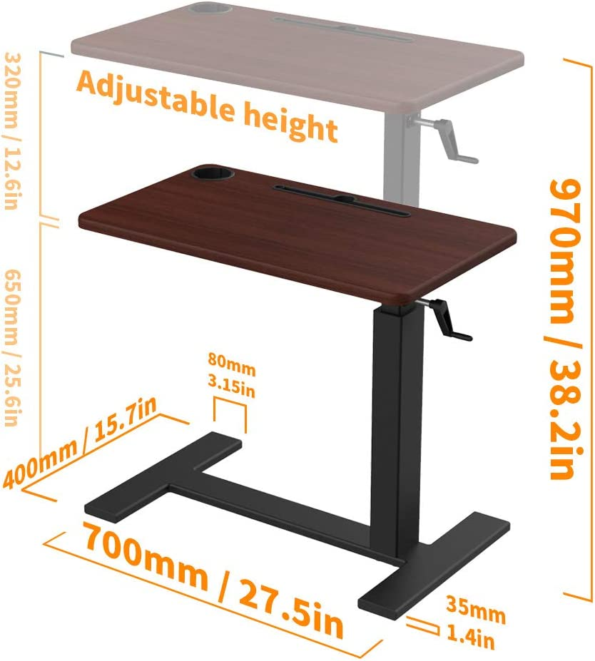 Balee Crank Height Adjustable Table Sit-Stand Laptop Computer Desk Non Tilt Top Overbed Table