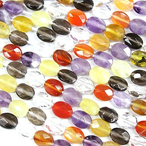 Faceted Natural Oval Genuine Yellow Opal Amethyst Smoky Quartz Crystal Red Agate Gemstone Beads Jewerly Making Findings (6*8mm)