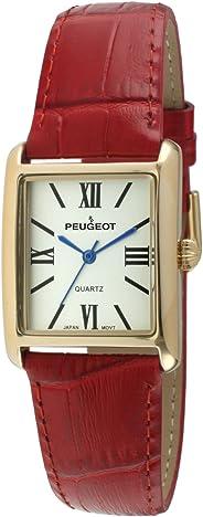 Peugeot Women's 14K Gold Plated Tank Leather Dress Watch