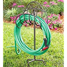 "Plow & Hearth 51170-GUN Scroll Wrought Iron Outdoor Garden Hose Holder with Ground Stake, 15"" L x 7"" W x 37.5"" H, Gunmetal Grey"
