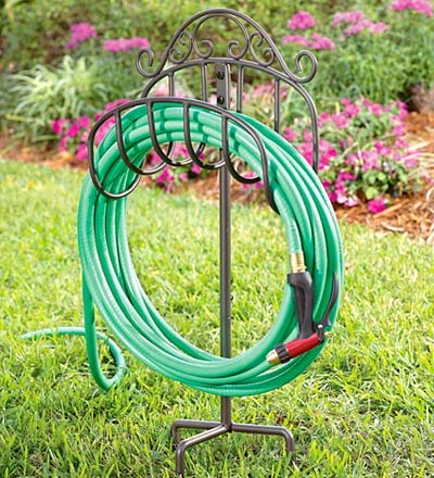 Amazoncom Wrought Iron Portable Hose Holder with Stake in