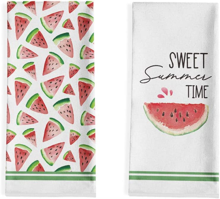 Artoid Mode Sweet Time Watermelons Kitchen Dish Towels, 18 x 28 Inch Seasonal Summer Ultra Absorbent Drying Cloth Tea Towels for Cooking Baking Set of 2