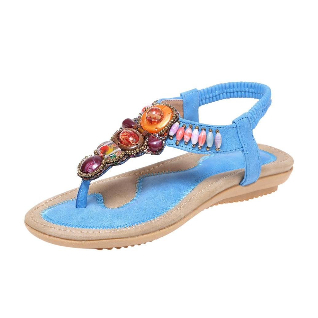 Reaso Femmes Été Sandales Bohême Cuir Appartement Peep-Toe Chaussures Plates Casual Retro Flat Vintage Sandales Ethniques Flip Flops Plage Femmes Sandales Herringbone Tongs