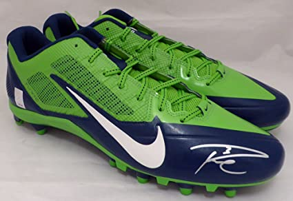 822dcf867810 RUSSELL WILSON AUTOGRAPHED NIKE CLEATS SHOES SEATTLE SEAHAWKS RW HOLO STOCK  #130470