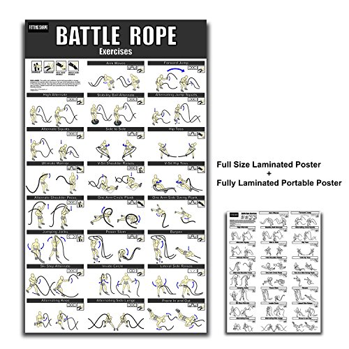 Battle Rope Exercise Poster 20 x 34.5 inch Fully Laminated with 23 exercises For Heavy Rope Training 30 40 50 ft Rope 1.5 and 2 inch diameter with Bonus Portable Laminated Exercise Guide