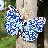 Gardens2You Papillon décoratif en mosaïque à fixer sur un mur ou une barrière Bleu