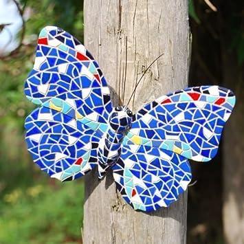 Merveilleux Blue Coloured Mosaic Wall Mountable Butterfly Garden Wall Art Ornament