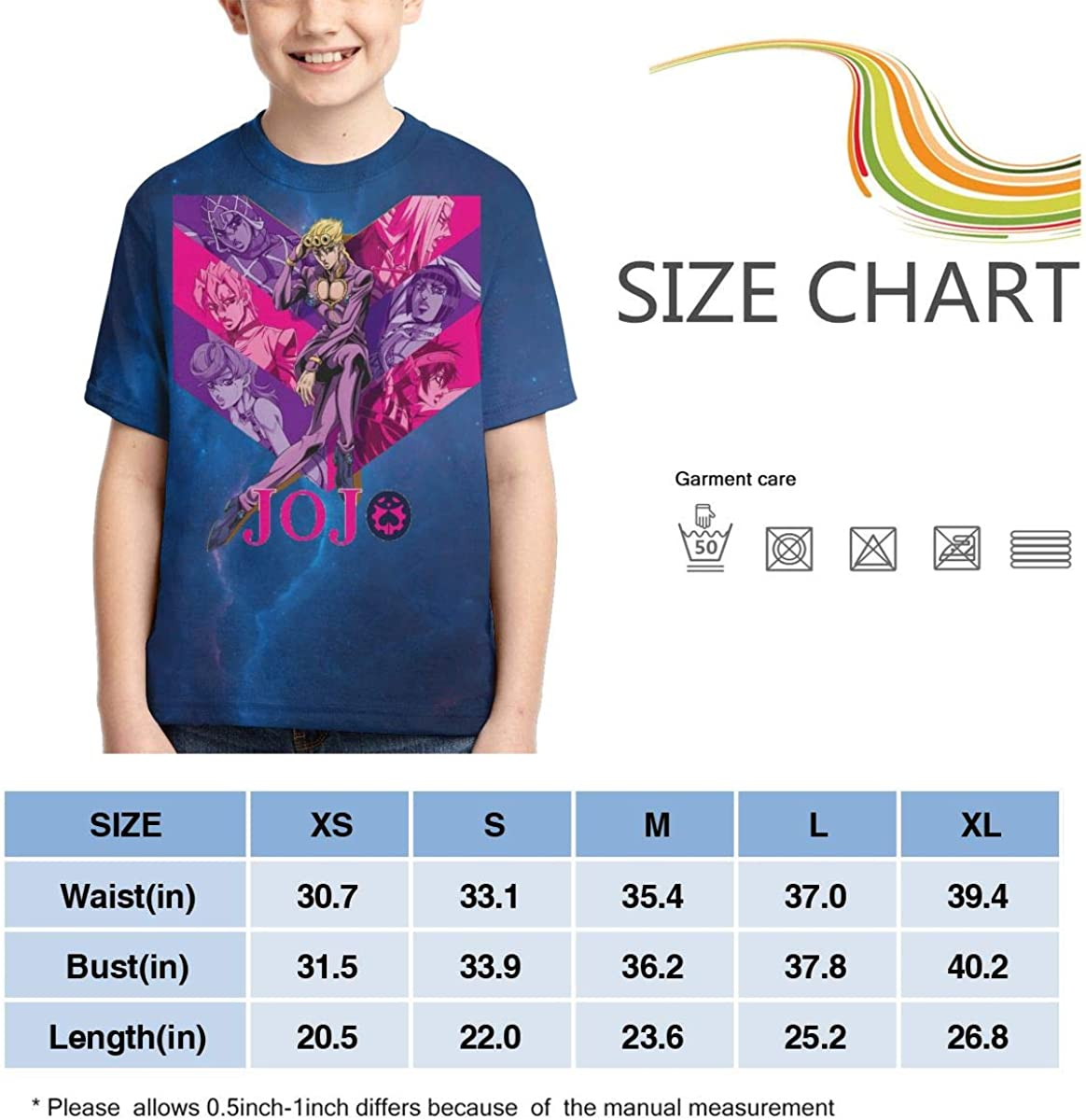 Zengqinglove Boys,Girls,Youth JoJo S Bizarre Adventure Golden Wind Meets Tower Records T Shirt