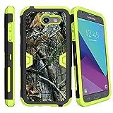 MINITURTLE Case Compatible w/ Case for [Samsung Galaxy J3 Emerge | J3 Prime | J3 Eclipse | Galaxy Luna Pro][ GREEN MAX DEFENSE ] Hybrid Case w/ Slim Built in Stand Holster Hunters Tree Camo