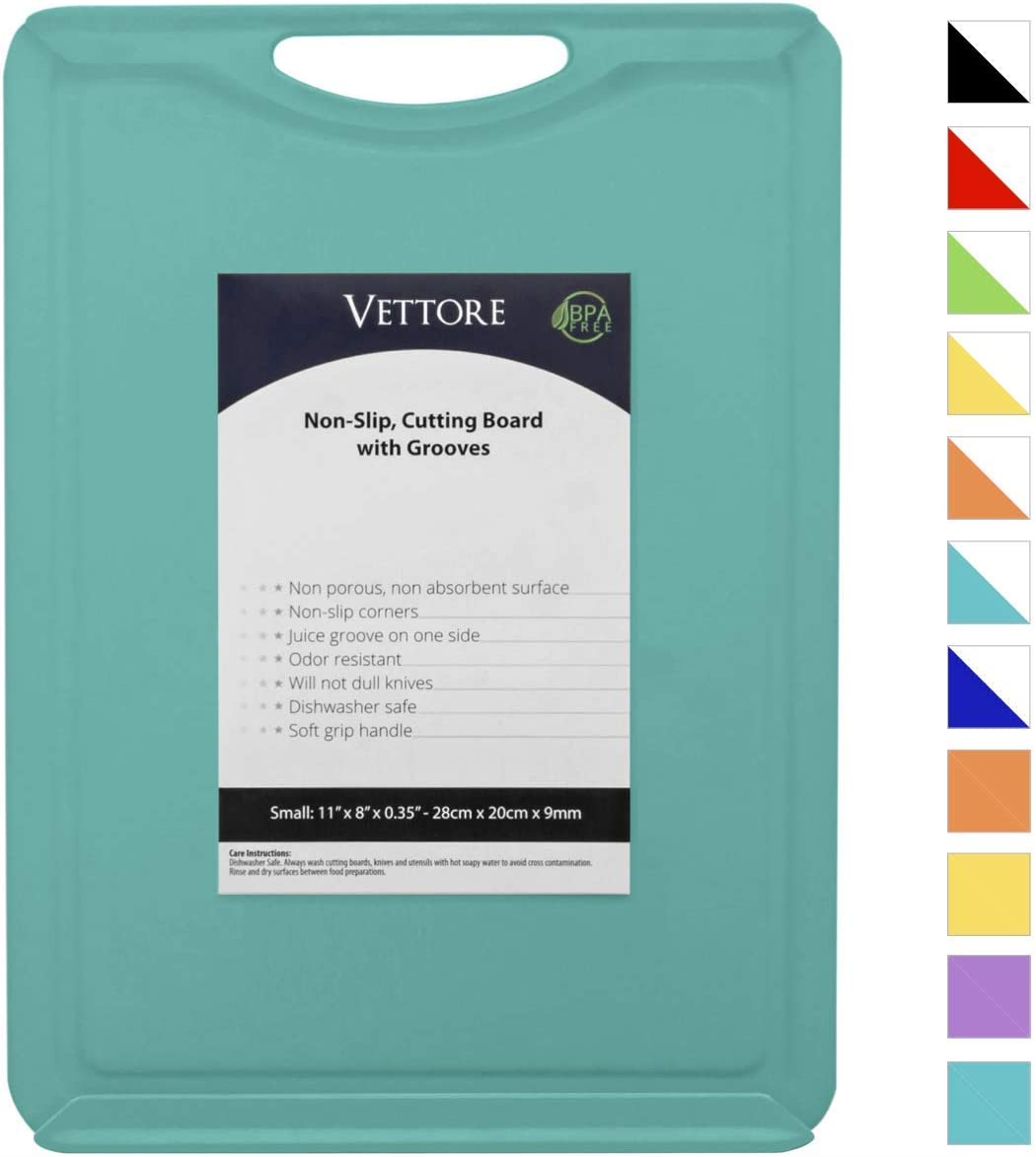 "Vettore Non Slip Poly Cutting Board With Juice Groove Dishwasher Safe BPA Free Plastic Rubber Feet (11"" x 8"", Solid Turquoise)"