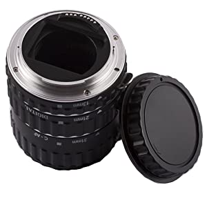 INSEESI Macro Lens Extension Tube with Lens Body and Rear Cap,with Lens Clean Cloth for Canon EOS Cameras (Tamaño: former version 3)