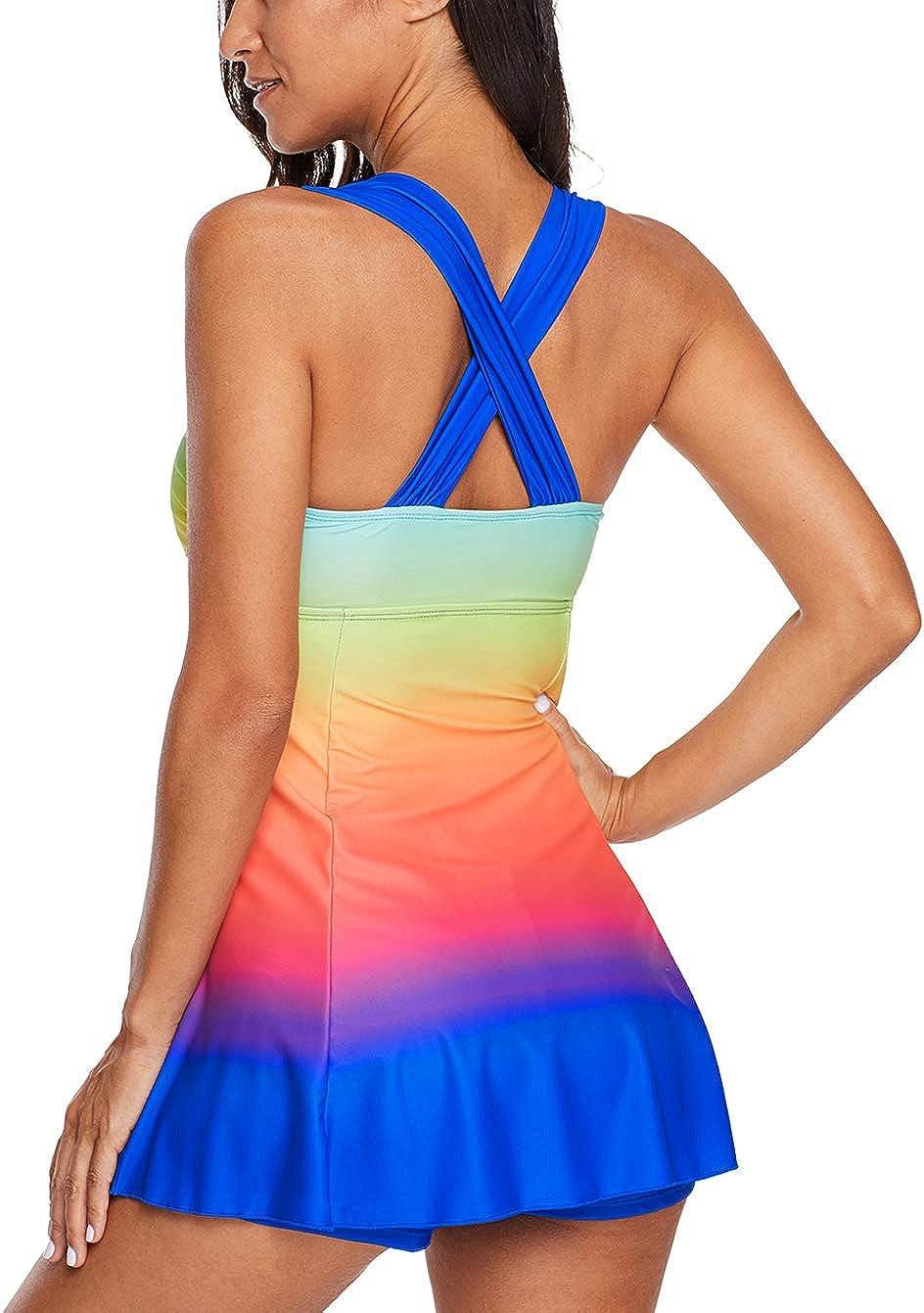 Eternatastic Womens Color Block Rainbow Tankini Swim Dress Two Pieces Swimsuits with Shorts