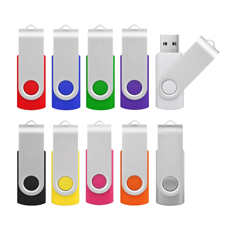 Kootion 32GB USB 3.0 Flash Drive 32 gb Flash Drives Thumb Drive Keychain Memory Stick Swivel Jump Drives, Mixcolored