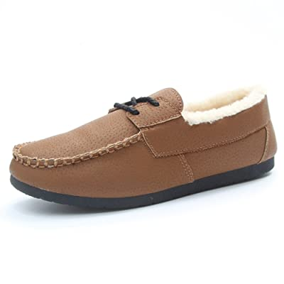 Btrada Women Winter Cozy Slippers Moccasin Flat Platform Fur Lining Indoor Outdoor Loafer Slippers Shoes
