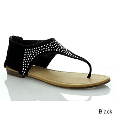 48d3af80b Amazon.com  ANNA VITA-10 Women Rhinestone T-Strap Ankle Strappy Flat ...