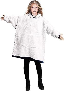 One Size Fit All Yomitek Blanket Hoodie Sweatshirt Oversized,Super Soft Warm Comfortable Hoody with Giant Pocket,Reversible,Bathrobe Grey Fleece Hooded Robe for Adults Men /& Women