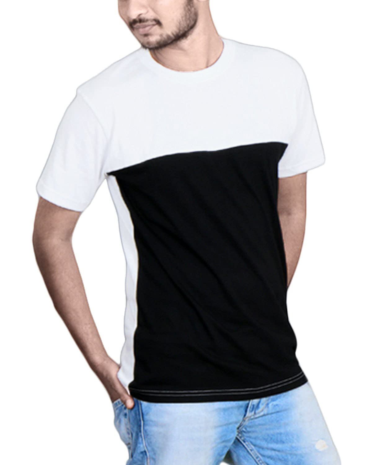 48ec1c5c9 FABIOUS Half Sleeve Round Neck Men's Cotton T-Shirt in Solid White & Black  Color: Amazon.in: Clothing & Accessories
