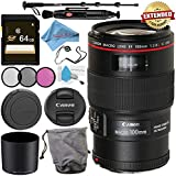 Canon EF 100mm f/2.8L Macro IS USM Lens 3554B002 + 67mm 3 Piece Filter Kit + 64GB SDXC Card + Lens Pen Cleaner + Fibercloth + Lens Capkeeper + Deluxe 70 Monopod + Deluxe Cleaning Kit Bundle