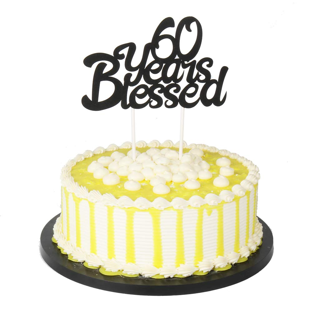 Amazon PALASASA Black Single Sided Glitter 60 Years Blessed Cake Topper