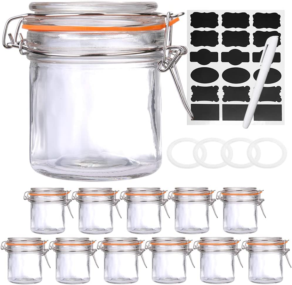 Qianfenie 10 oz Airtight Jars with Hinged Lids, Glass Jars with Lids for Bathroom or Kitchen - Food Jars with Labels & Chalkboard Pen and Replacement Silicone Gaskets, Set of 12