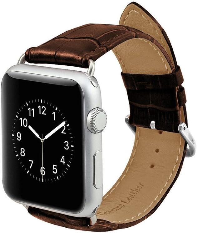 MPTECK @ marrón 42mm Cuero banda de reloj de la correa de para ...