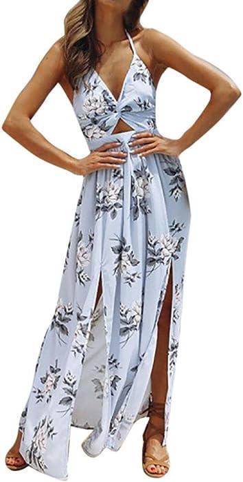 e5f97cdfb Vestidos Largos Mujer Sexy Vestido de Fiesta Vestido Largo sin Mangas de  Playa de impresión del camisón de Playa de Mujeres Amlaiworld