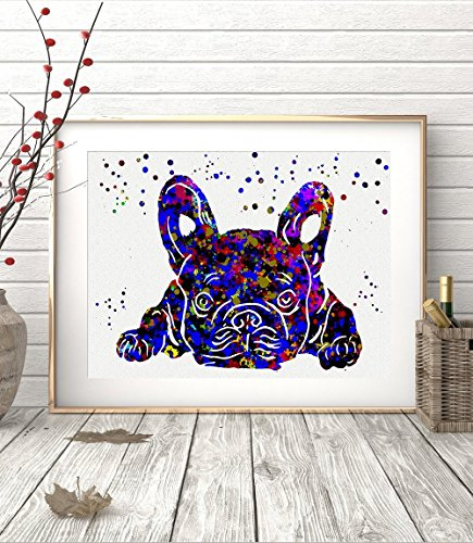 French Bulldog Watercolor Posters Art Prints Wall Decor