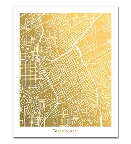 Birmingham alabama map in genuine gold foil for Sell jewelry birmingham al