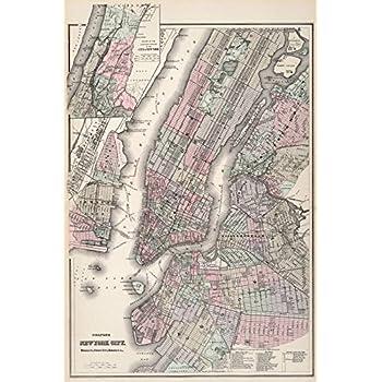 Amazoncom Historical Colton Map Of New York City Manhattan - Manhattan island map