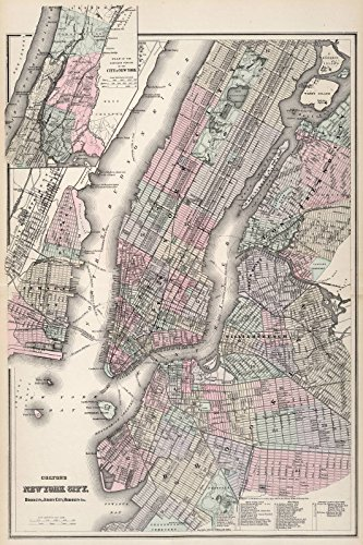 Historical 1865 Colton Map of New York City (Manhattan, Brooklyn, Long Island City) | 24 x 36in Fine Art Print | Antique Vintage Map