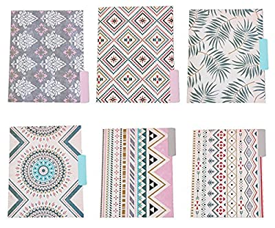 Decorative File Folders - 12-Count Colored File Folders Letter Size, 1/3-Cut Tabs, Includes 6 Cute Bohemian Tribal Design and 6 Solid Colors, Office Supplies File Filing Organizers, 9.5 x 11.5 Inches