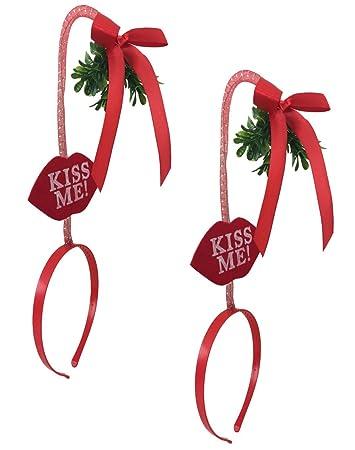 df123d9a3025d Amazon.com  Christmas Mistletoe Kiss Me Headband On A Springy Cord ...