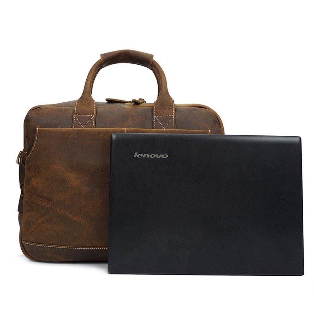 Color : Brown AJZGF Business Briefcase Mens Messenger Bag 14 Inch Waterproof Retro Crazy Horse Leather Briefcase Tote Bag Shoulder Bag