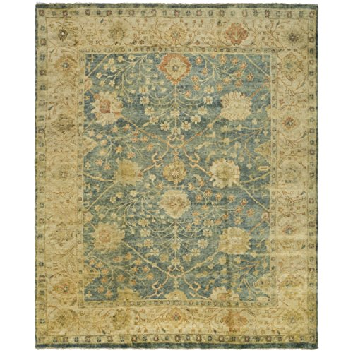Safavieh Oushak Collection OSH117A Hand-Knotted Medium Blue and Green Wool Area Rug (12' x 15')