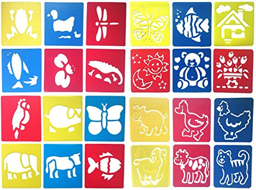 24 Pcs Drawing Painting Stencil Templates Set for Kids Crafts Creation, Graphics and Animal Education, Different Animal Patterns, Washable Plastic Craft Stencil Template Pattern