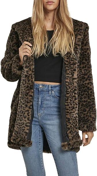 Urban Classics Damen Mantel Ladies Leo Teddy Coat mit Animal Print