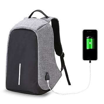 hjuns - Juego de gran capacidad Laptop Mochilas Bolsa de viaje mochila antirrobo para PC con USB puerto de carga, gris: Amazon.es: Deportes y aire libre