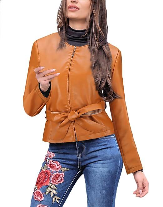 Battercake Chaquetas Mujer De Cuero Moto Biker Cortas Abrigos Invierno Otoño Elegantes Retro De Casuales Mujeres Piel Sintético Jacket Manga Larga con ...