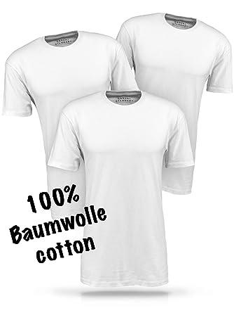 Basic T Shirt Herren weiß Tshirt - 3 Pack aus 100% Baumwolle weiße T Shirts  Männer T-Shirt einfarbig  Amazon.de  Bekleidung 44177814d5