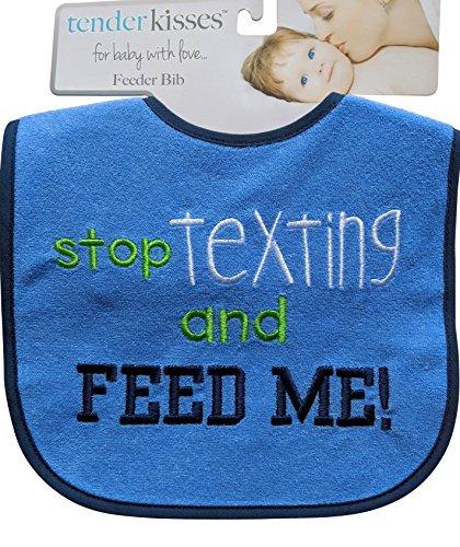 Tender Kisses Infant Embroidered Bib Texting (Navy Trim)