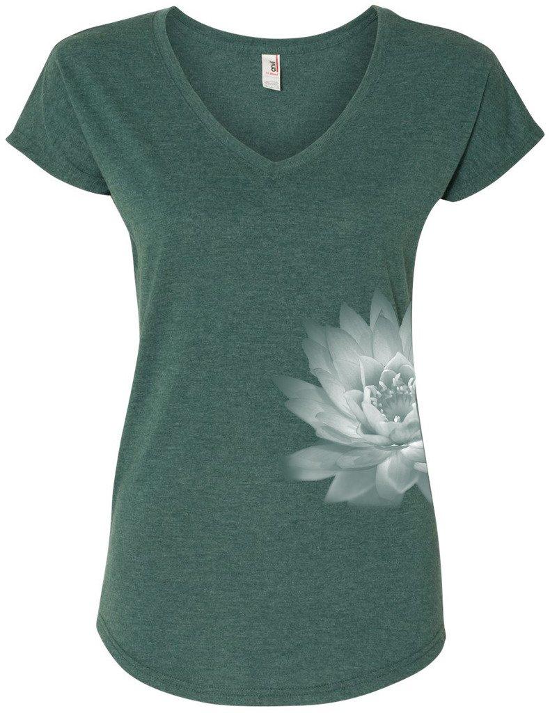 Yoga Clothing For You Ladies Lotus Flower V-Neck Tee Shirt BODK6750VL-LOTFLWR