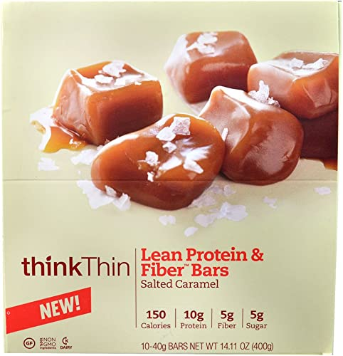 Think Products thinkThin Lean Protein Fiber Bars Salted Caramel — 40g 10 Bars