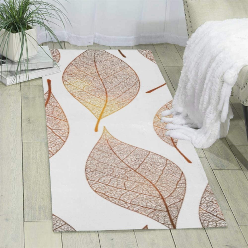 Gold Leaf Autumn Leaves Area Living Room Rugs Area Rug For Living Room Play Rug Size 70 X 24 180cmx60cm Soft And Easy To Clean Kitchen Dining