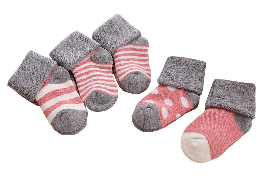 Streifen-Muster-Kind-Baby-Socken 5 Paar Set Weich Neugeborene Socken East Majik
