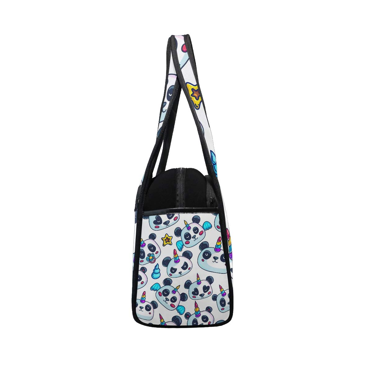 Gym Bag Sports Holdall Unicorn Panda With Rainbow Canvas Shoulder Bag Overnight Travel Bag for Men and Women