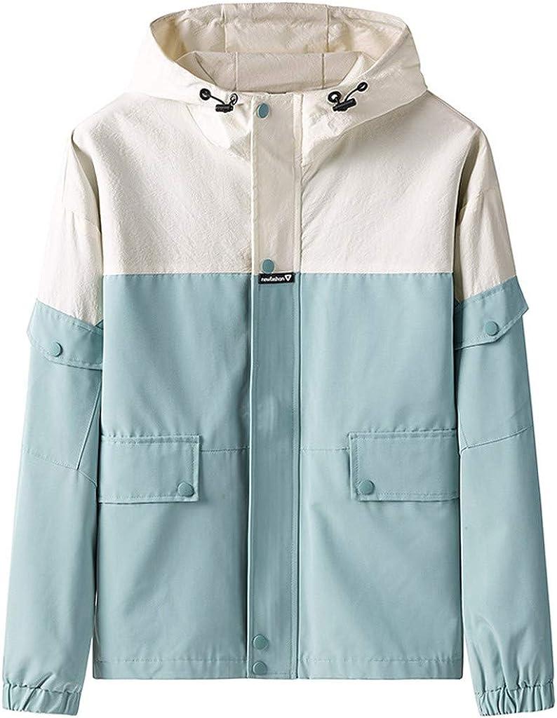 Plus Size Mens Autumn Casual Hip Hop Splice Zipper Pocket Hoodie Thin Coat Top