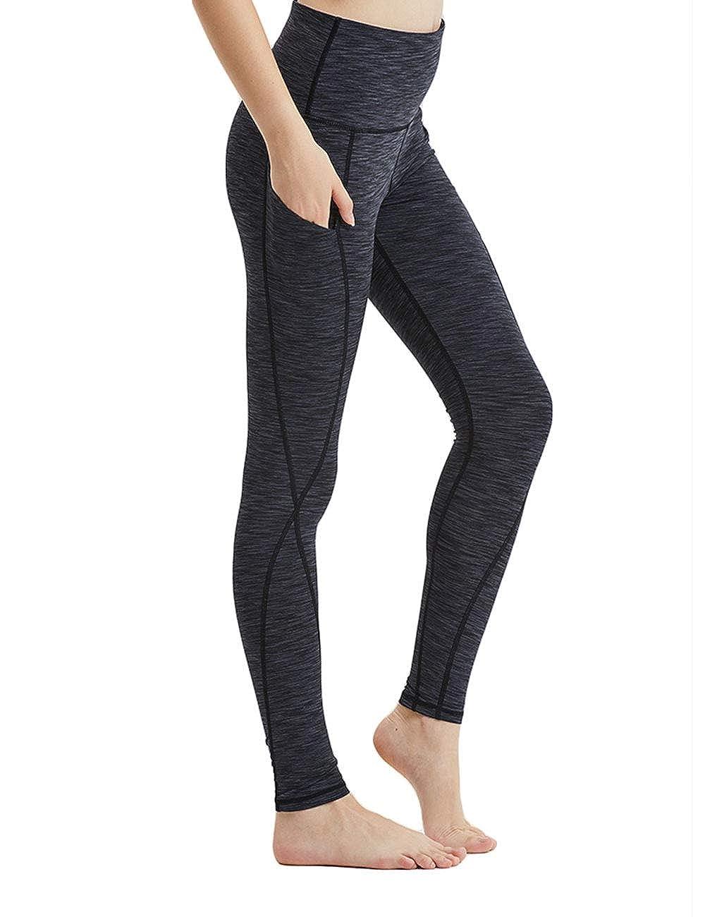 Black XReborn Women's High Waist Yoga Gym Workout Pants Side Pockets Non SeeThrough Leggings